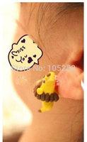 Mini order $25 women's DIY Polymer clay Earrings Jewelry for female ladies girl'cartoon lion yellow 925 Sterling earring gift
