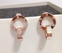 14k rose gold plated titanium steel screw leve earring