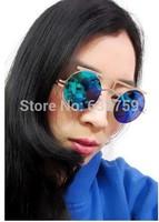 European and American star RETRO SUNGLASSES small round sunglasses non mainstream metal sunglasses