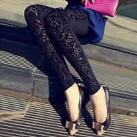 Women Legging Pants New 2014 Spring Tights Leggins Extravagance Pattern Gold Velvet Leggings Nine Points Hollow Lace Flower