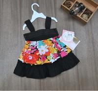 2014 children's clothing fashion spaghetti strap floral dress Girls sleeveless ruffles one-piece dress