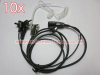 10pcs  2 Pin PTT MIC Covert Acoustic Tube In-ear Earpiece Headset for KENWOOD walkie talkie baofeng radio