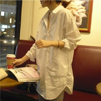 fashion spring and autumn maternity clothing plus size loose long design turn-down collar long-sleeve maternity shirt