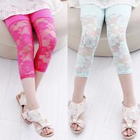Hot sale! Candy Lace Girl Legging Children Pants Retail Baby Girl Color Lace Leggings Girls Velvet Short Pants For 2-10 years