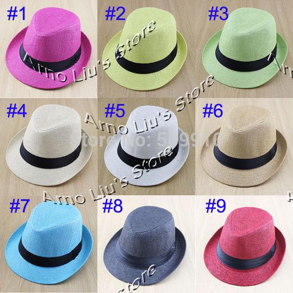 Fashion Baby Summer Fedora Hat Children Pure Color Jazz cap Kids Straw Top Hat Sun hat 2pcs Sample BH-1056(China (Mainland))