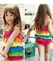 Free Shipping NEW 2014 Genuine Kids piece swimsuit skirt Korean children's swimsuit girls swimsuit sun  120