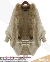 2014 New fashion winter clothes loose big yards cardigan bat sleeve raccoon fur collar coat  women  thick sweater