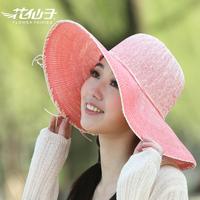 Summer women's sunbonnet large outdoor strawhat sunscreen bow beach hat