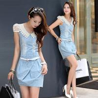 High Quality  Lace Casual Denim Dress Plus Size Vintage Jeans Dresses Slim Blue New 2014 Fashion Women Summer Dress