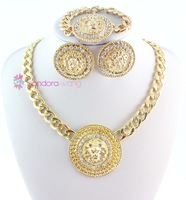 New Arrival Chunky Chain Gold Big Lion Head Necklace Bracelet Earrings Set