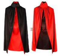 2014 NEW Halloween Custome Black Red Reversible Dress Goth Vampire Demon Cloak Adult