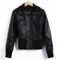 2014 Star With Money Pu Phi Clothing Rib Stitching Slim Was Thin Long-sleeved Leather Jacket Lapel Fashion Wild  PBZ011