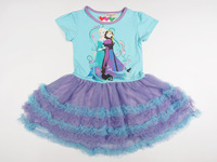 Kids Girl's Children Toddler Anna and Elsa  Short Sleeve Dress Cake Frozen Round Neck Tutu Tulle Dresses Purple Clothes P30340