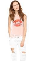 Lips to kiss the lips pattern printer font on the back rib soft female vertical pleat small vest big size XXL