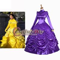 Custom Made Beauty And Beast Princess Belle Purple Dress Costume Movie Cosplay Costume