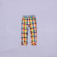 Fashion Kid's orange plaid Pencil Pants Children's cotton ammonia elastic loop pile trousers clothing