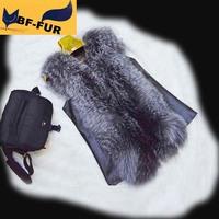 Hot Sale !New 2014 !Women Natural Fox Fur Vests Waistcoats with Genuine Sheep Skin Fashion Ounterwear Women's Clothing Customize