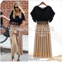 Bohemian fashion chiffon dress stitching hit color slim waist vintage dress free shipping
