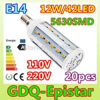 Free shipping 20pcs E14-12W-42leds-5630 SMD High Power LED Corn Light Bulb Lamp Lighting AC100-130V/200-240V Warm/Cool White