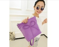 New 2014 Hot selling high quality fashion bow messenger bags 13-colors women summer PU handbag one shoulder bags FREE SHIPPING