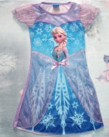 Hot New Children Kids Girls Frozen Princess Short Sleeve Round Neck Elsa Fancy Dress Costume Gown Skirt Cosplay Blue 2345