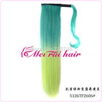 WHOLESALE magic ponytails Grandient color heat resistant clips synthetic hair extension 9 colors 22inch  MOQ 50pcs