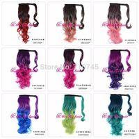 WHOLESALE magic hair ponytails Grandient color heat resistant clips synthetic hair extension 9 colors 22inch  MOQ 50pcs