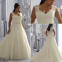 Flattering V-neck Sleeveless Organza Sexy Long Chapel Train Crystals Romantic Girls Lace Wedding Dress 2014 Plus Size