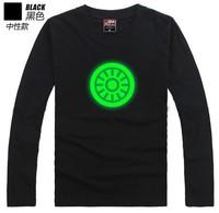 Free Shipping Luminous Full Sleeve T-shirt Iron man shirt Tee LOGO noctilucent T-shirt