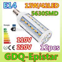 Free shipping 12pcs E14-12W-42leds-5630 SMD High Power LED Corn Light Bulb Lamp Lighting AC100-130V/200-240V Warm/Cool White