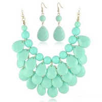 2014 Fashion Summer Beads Jewelry Sets Women Necklace and Dangle Earrings Free Shipping Magi Jewelry