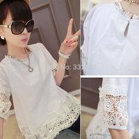 Summer fashion maternity clothing maternity o-neck short blouse fifth sleeve loose crochet cute maternity shirt