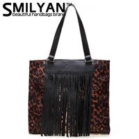 Smilyan 2014 new leopard pattern and tassel nature leather women handbag fashion and vintage genuine leather women shoulder bag