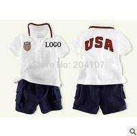 2014 Polo sets baby boys clothes suits,Children's clothing sets t shirt+shorts,2pcs,4sets/lot