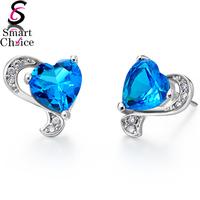 Ocean Blue Heart 18K White Gold Plated Austrian Ocean Blue Heart Crystal Stud Earring For lovers