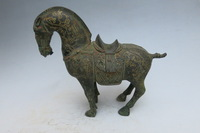 Rare Old Qing Dynasty Gilt bronze horse statue, Don horse,best collection&adornment,free shipping