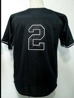 Free Shipping to all country!!#2 Derek Jeter black jersey  ,Embroidered Logo(all name number stitched!!)