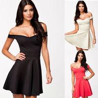 2014 Free Shipping M L Size New Fashion Summer Dress Slash Neck Sexy Skater Dress Black Party Mini Casual Dress for Women