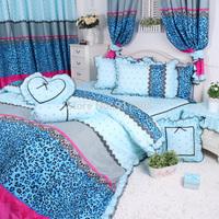 Sexy Leopard Print Bedding Sets, Fashion Blue Polka Dot Duvet Cover Bedding Set, Korean Ruffled Bedding Sets