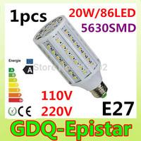 Free shipping 1pcs E27-20W-86leds-5630 SMD High Power LED Corn Light Bulb Lamp Lighting AC100-130V/200-240V Warm/Cool White