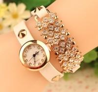 2015 Newest Fashion Women Full Crystal Rhinestone Bracelet Watches Women Dress Quartz Wristwatch Dropshipping Girl Gift