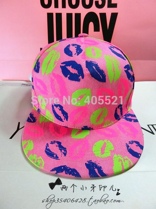 Fashion LIPS Flat Peak Cap Fitted Hip Hop Snapback Hat Bling Street Baseball Caps(China (Mainland))