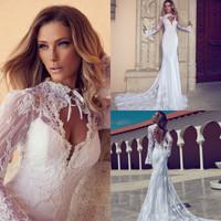 2015 Hollow Back Long Sleeves See Through Floor Length Sexy Free Shipping High Quality Custom OEM Mermaid White Wedding Dresses