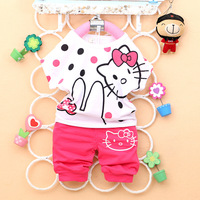 Free Drop shipping 2014 New Summer Fashion hello kitty Baby girl cotton clothing set A238