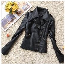 2015 Spring New Fashion Black Lapel Handsome Motorcycle Leather Jacket Women Short Slim Lady PU Coat PBZ016(China (Mainland))