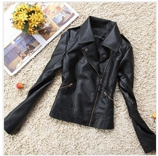 2014 Autumn Женщины Lapel Handsome Motorcycle Leather Jacket Женщины Короткий Paragraph ...