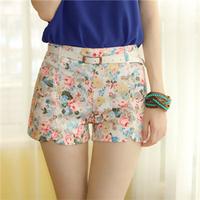 Free Shipping New Fashion Sexy Chiffon Women Shorts Flower Pattern Floral Elastic High Waist Summer Girl Cotton Shorts #6070