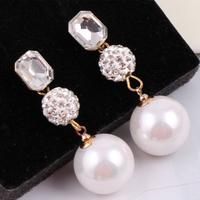 4 colors temperament  elegant crystal imitation-pearls drop earrings R4341