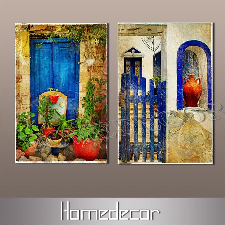 2pcsset grande y moderno de aceite de arte vista de puerta de la casa