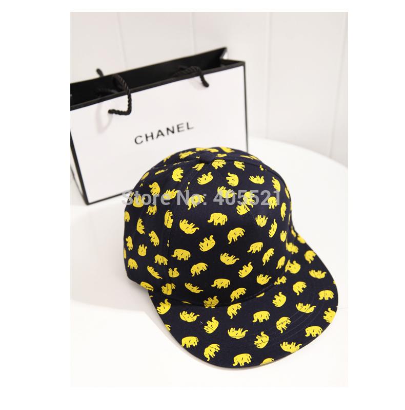 Fashion Elephant Flat Peak Cap Fitted Hip Hop Snapback Hat Bling Street Baseball Caps(China (Mainland))